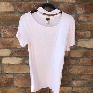 FREE PEOPLE White Ribbed Choker T-Shirt